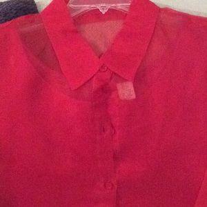 Red sheer blouse, built in tank top, XL, nwot